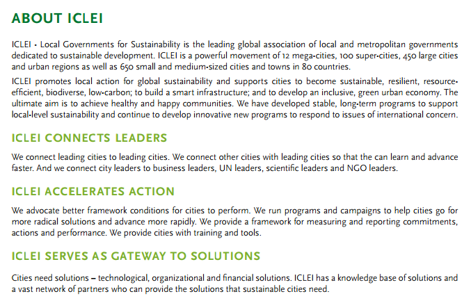 About ICLEI snippet for SA article Oct 2014
