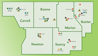 Boone County Arkansas Map.Extortion In Arkansas Tax Increase Trash Tax For 6 Counties In